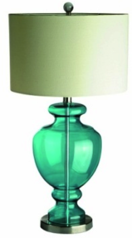 Elegant Designs Aqua Colored Glass Table Lamp W/ Chrome Accents
