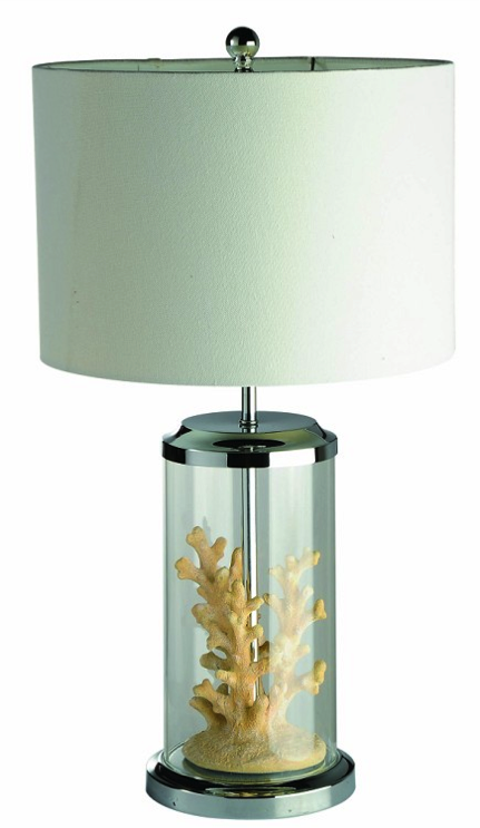 All the Rages:Elegant Designs Table Lamp w/ Replicated Coral in Glass Display Case,Lighting