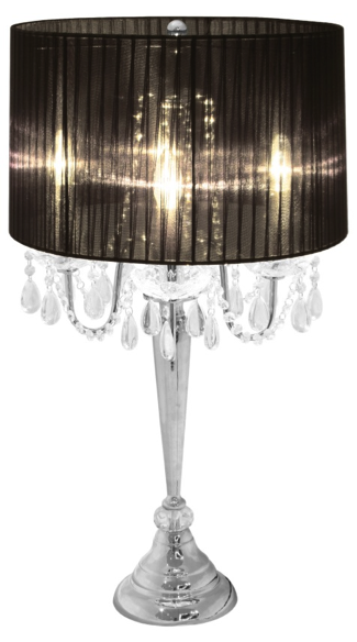 Beautiful Elegant Designs Trendy Sheer Shade Table Lamp W/ Hanging Crystals