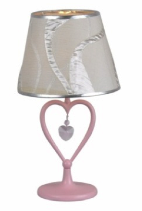 LimeLights™ Small Heart Lamp W/ Hanging Heart Shaped Crystal  Pink