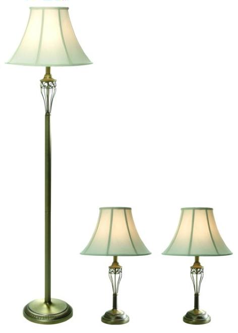 All the rages elegant designs antique brass 3pk lamp set 2 table lamps 1 floor lamp mozeypictures Images