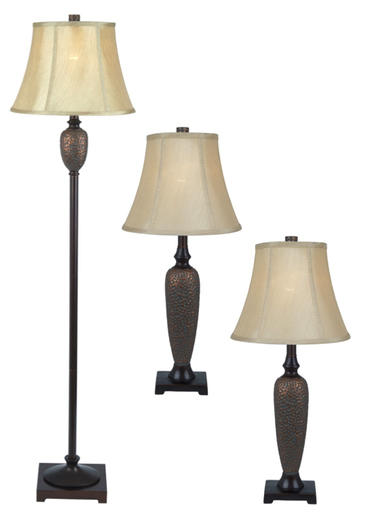 All the rages elegant designs hammered bronze 3pk lamp set 2 table lamps 1 floor lamp mozeypictures Choice Image