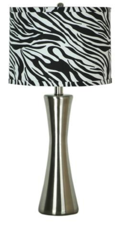Pic Simple Designs Brushed Steel Zebra Print Table Lamp