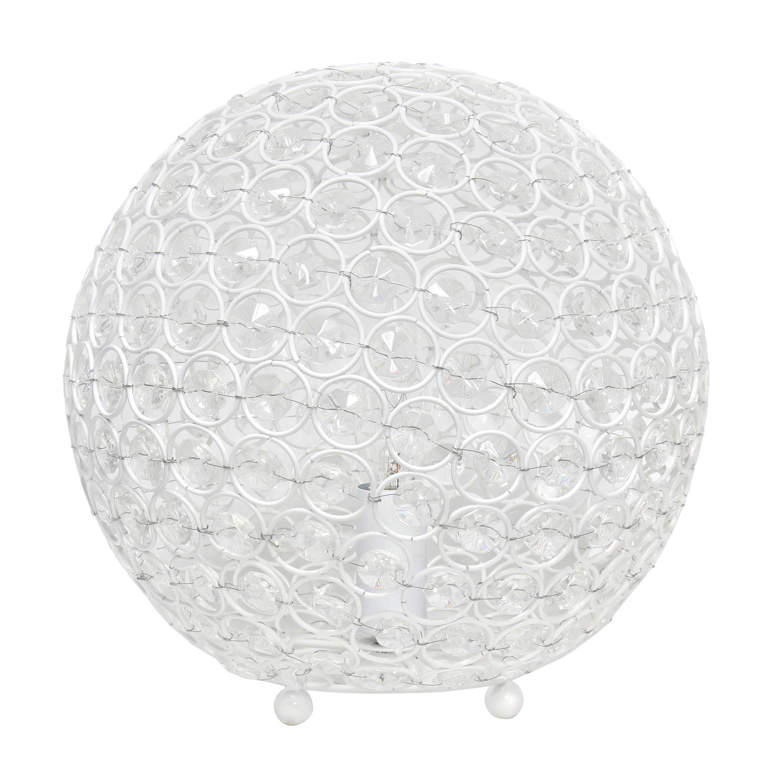 White Elegant Designs LT1067-WHT Elipse 10 Inch Crystal Ball Sequin Table Lamp